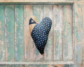 Rustic Heart, Primitive Heart, Antique Quilt Heart Ornament, Farmhouse Style, Primative Heart, Blue & White Star Quilt - READY TO SHIP