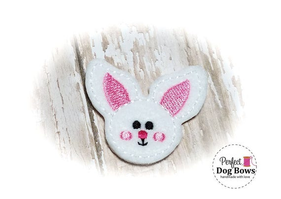Easter Dog Grooming Bows, Easter Bunny Dog Hair Bow, White Felt Bunny