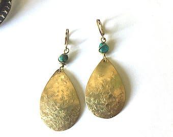 Turquoise Brass Gemstone Earrings - Statement Earrings - teardrop Earrings  - Boho Earrings - Southwestern - Sky Stone - Drop Earrings