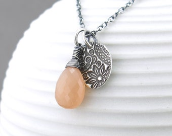 Peach Moonstone Necklace Boho Necklace Unique Gift Idea for Her Sterling Silver Layering Necklace Boho Jewelry - Solo