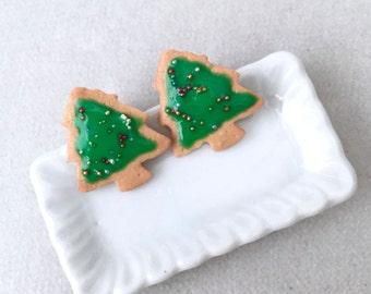 Christmas Tree Cookie Stud Earrings - polymer clay miniature food jewelry