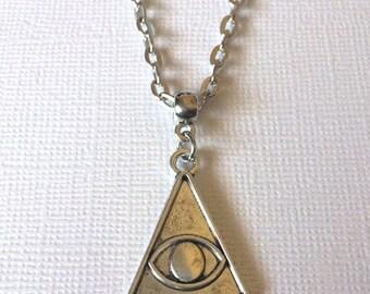 Evil Eye Illuminati Necklace on Silver Cable Chain - Mens Jewelry