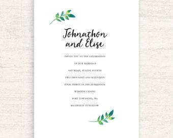 Wedding Invitations / Printable Wedding / Leaf Invitations / Elegant / Botanical / Greenery Wedding / Summer Party Invite