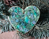 Ceramic Heart Christmas Ornament Peacock Green peacock edged in gold