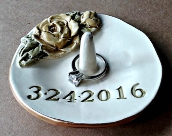 PERSONALIZED Ceramic Ring Holder Bowl with Gold edging Made to Order engagement ring holder   Wedding Ring Holder Bridal Shower gift