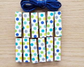 Boy Baby First Birthday Shower - Blue and Green Polka Dot Chunky Little Clothespin Clips w Twine for Display - Set of 12 - Gifts Under 10