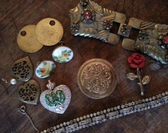 Repurpose Jewelry ... Compact Earrings Brooch Buckle ... Jewelry Supply, Steampunk