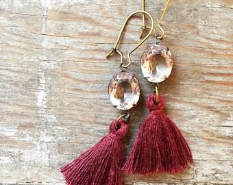 Vintage Swarovski Crystal Rhinestones & Ruby Red / Burgundy Tassel Earrings