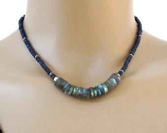 Blue Sapphire Labradorite Necklace Sterling Silver DJStrang Boho Chic Blue Gemstone Green Blue Color Flash