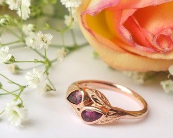 Double Pear Blossom Ring - Custom, deposit