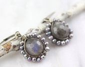 Reserved - Peacock Pearl Wrapped Labradorite Oxidized Silver Earrings