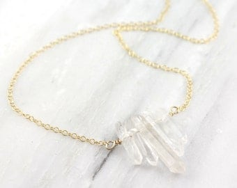 Crystal Icicles Gold Necklace