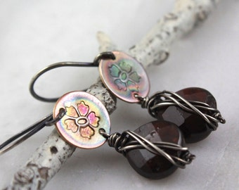 Garnet and Fire Painted Bronze Hibiscus Earrings