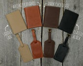 Leather Passport Holder and Luggage Tag Gift Set with Free Monogram - Travel Accessory Gift for Man Boyfriend Husband Brother Dad Grad
