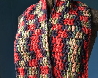 Multicolor Scarf Soft Cotton Infinity Scarf Cowl Orange Brown Green Crochet Scarf