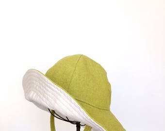 Baby Wide Brim Floppy Sun Hat in Yellow Green Cotton Chambray Size 12-24 mos.