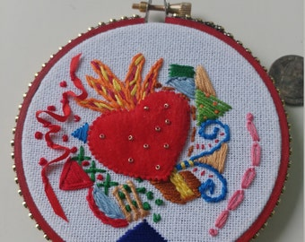 Red Felt Sacred Heart Embroidery Art