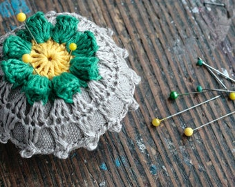 Linen  pincushion - crochet motif