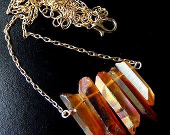 Orange Crystal Quartz Necklace, Raw Aura Quartz, Crystal Point, Gold Chain, Iridescent Stone Bohemian Jewelry
