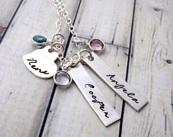 Mommy necklace- Personalized necklace-handstamped jewelry-sterling silver necklace-three charms Mom's necklace-nana necklace