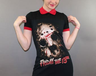Friday The 13th Jason Voorhees Halloween Horror Movie Dress Peter Pan Collar Wednesday Addams Camp Crystal Lake Goth Clothes