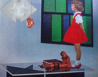 Collage on Paper-Mid Century Lamp & Coffee Table- Little Girl-Whale