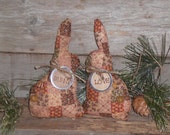 2 Primitive Grungy Faux Patchwork Brown Fabric Easter Bunny Love Bowl Fillers Ornies Ornaments Tucks Shelf Sitters