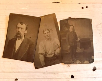3 Vintage TIN Type Photographs Boy Men COLLAGE Assemblage Jewelry SUPPLIES Curiosity Cabinet Antique Sepia Photo Black and White Photograph