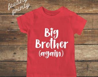 big brother Shirt Big Bro Shirt Boys Shirt Red with White New Brother shirt big brother again