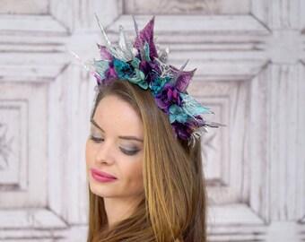 Ocean Goddess Headdress, Purple and Teal, Mermaid Headpiece, Siren Headdress, Costume Headpiece, Fantasy, Costume, Cosplay