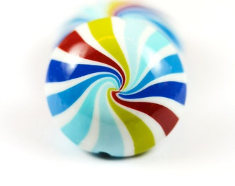 Polymer clay lentil beads - swirl stripes beads - beach ball beads - multicolored beads (2)
