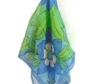 VERA Floral Chiffon Scarf In Blue And Green