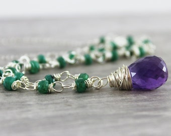 Amethyst and Emerald Necklace, Purple Amethyst Necklace, Emerald Green Necklace, February May Birthstone Necklace, Sterling Silver Necklace