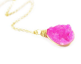 Pink Gold Druzy Necklace, Hot Pink Druzy Necklace, Drusy Teardrop Necklace, Druzy Gemstone Necklace, Bright Pink Necklace, Gold Pendant