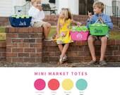 Mini Market Tote - Monogrammed - Monogram Easter Basket - Picnic Basket - Mini Market Totes - Boys Easter Basket - Girls Easter Basket
