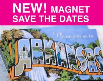 Vintage Postcard Save the Date - Magnets
