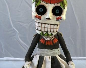 Skeleton Doll Sugar Skull Day of the Dead Original Hand Painted Folk Art Sculpture OOAK