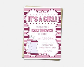 Baby Bottle Invitations - Baby Shower Invitations - Girl Baby Shower Invitations - New Baby Invitation - It's a Girl Invitations
