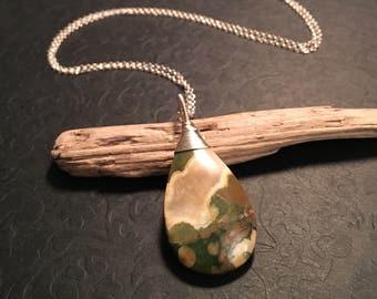 Rainforest Jasper Sterling Silver Pendant, 16 18 20 22 24 Inch Necklace Chain, Wire Wrap, Handmade Jewelry, Teardrop, Tan, Brown, Cream