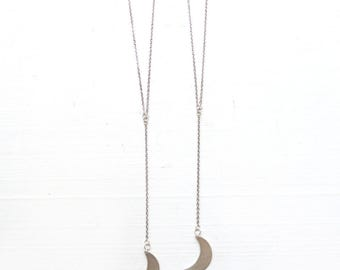 Crescent Moon//Sterling Silver moon//Lariat necklace//Silver moon//Necklace for woman//Bridal Collection//Divine Feminine//Moon necklace