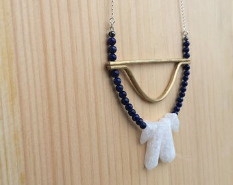 the Melissa necklace in lapis, quartz and brass | sterling silver chain | statement necklace | gift for her