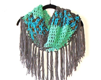 Crocheted Summer Fringed Cowl / Wrap / Scarf in Ocean Storm Palette ~ capelet shawl gypsy boho chic cape handmade clothing wearable art