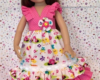 Effner Little Darling Doll Tea Length Sundress With Headband Spring Is In The Air By TnTCreations