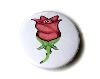 Hand-drawn Rose Emoji Pin Back Button