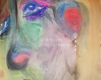 TWO PAINTINGS on Book Page Original Art Pastel Color Portraits