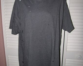 gray unisex deconstructed shredded cut up trashed t shirt mens Large L womens Extra Large L XL