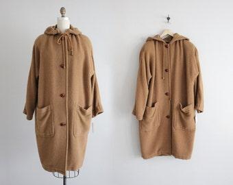alpaca coat   voluminous wool coat   hooded coat
