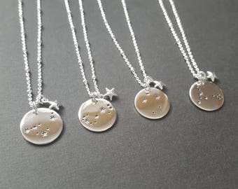 Sterling Silver Zodiac or Big Dipper Constallation necklace with accent star - astrological necklace