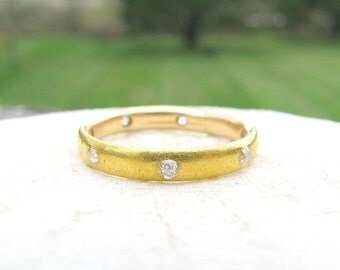 Antique Diamond Eternity Band Ring, Old European Cut Diamonds, 14K Gold, Substantial Wedding Band, Stacking Ring, Victorian - Art Nouveau