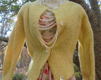 Yellow wool cardigan fuzzy sweater vintage 50s 60s mid century small from vintage opulence on Etsy